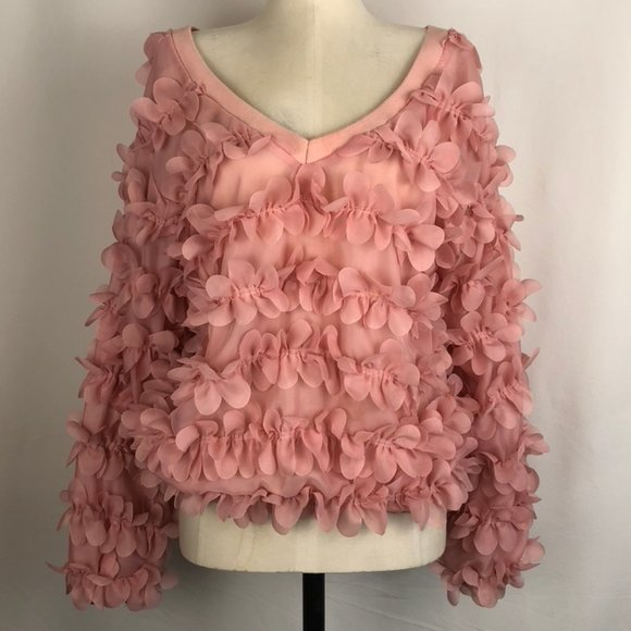 Rose Petal Textured V-Neck Statement Bubble Top